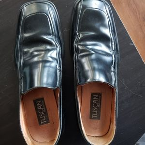 Tuscan Mens Black Leather Dress Loafers Size 45